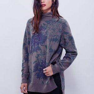Free People Floral Pullover Mockneck Sweatshirt